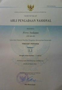 Sertifikat Ahli Pengadaan Nasional Tahun 2009